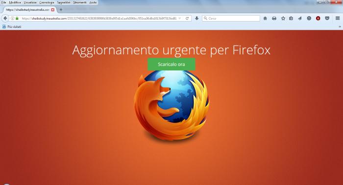 Falso aggiornamento Firefox